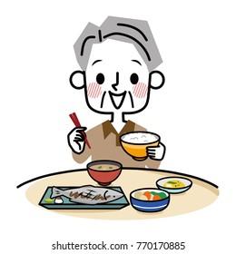 Elderly men who eat.