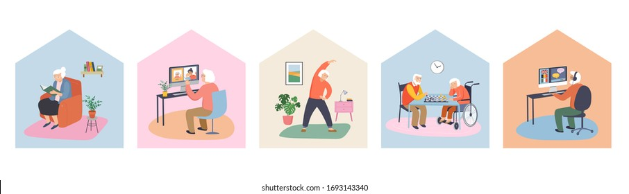Elderly, old people, senior people at home, playing chess, chatting on computer with grandchildren, reading books, working out, learning languages. Vector illustration, cartoon set stock illustration