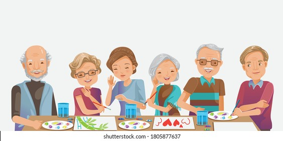 Elderly painting. Happy senior woman smiling and friends while.  Drawing as a recreational activity or therapy together. Group of retired women and man elderly. - Shutterstock ID 1805877637