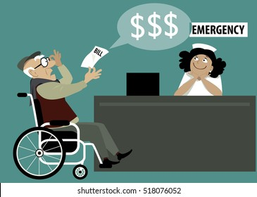 Elderly patient in a wheelchair chocked by a high hospital bill, emergency room reception on the background, EPS 8 vector illustration