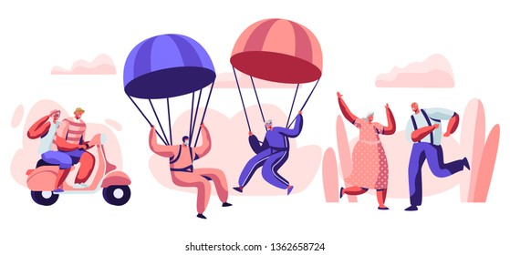 Elderly People Active Lifestyle. Happy Aged Pensioner Characters Doing Extreme Sport, Skydiving with Parachute, Riding Motobike, Dancing. Old Men and Women Relations. Cartoon Flat Vector Illustration