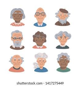 Elderly people avatar set. Portraits of old people on white background. Senior people flat Vector illustration