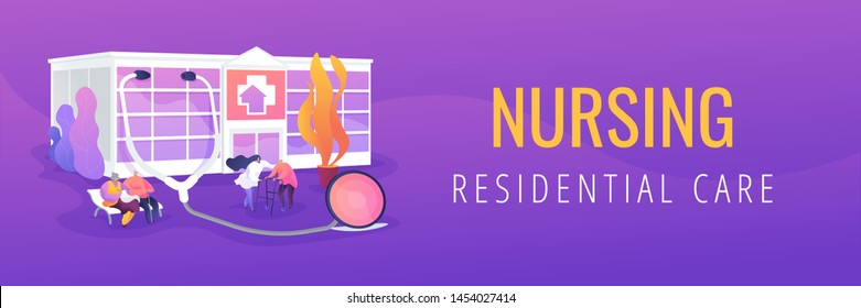 Elderly people caregiving, assistance. Healthcare, medical center. Nursing home, nursing residential care, physical therapy service concept. Header or footer banner template with copy space.