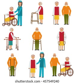 Elderly People in Different Situations with Caregivers. Various Degrees of Injuries and Disabilities. Older Women and Men with a Stick, Stilts, Wheelchair. Colorful Icons Isolated - Vector