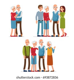 Elderly people with friends and family standing together. Flat style vector illustration.
