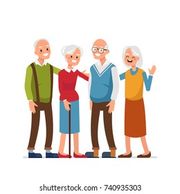 Elderly people with friends  standing together. Flat style vector illustration.