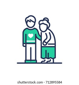 Elderly People Help - modern   vector single line design icon. An image depicting two people, a young man, son ,grandnson, a senior person, grandmother, he . Use it for your presentation.