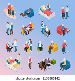Elderly People Isometric Set