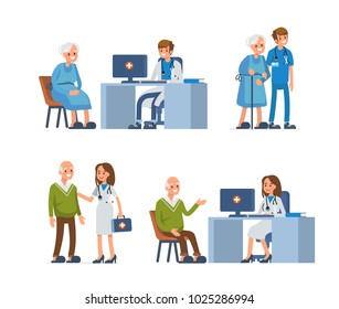 Elderly people leisure in nursing home. Flat style illustration isolated on white background.