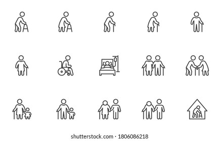Elderly people line icons set. linear style symbols collection, outline signs pack. Old persons vector graphics. Set includes icons as handicapped man, senior woman with walking stick, disabled care