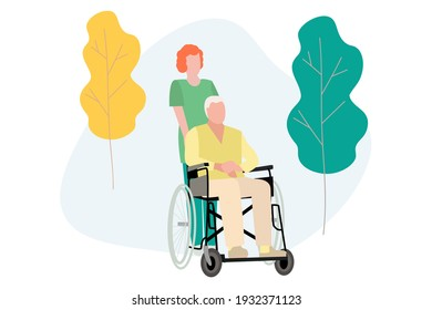 Elderly people and pensioners are hospitalized in quarantine, a disabled person in a wheelchair, who is being driven by a nurse, a nurse. Vector illustration. Vector, EPS 10