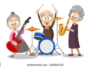 Elderly people playing in band together vector illustration. Happy cartoon friends guitarist saxophone player and drummer. Music age and people concept