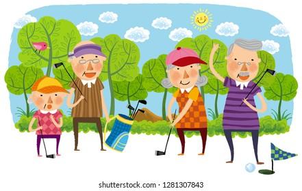 Elderly people playing golf