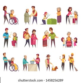 Elderly people professional social help service workers volunteers family support flat cartoon elements set isolated vector illustration