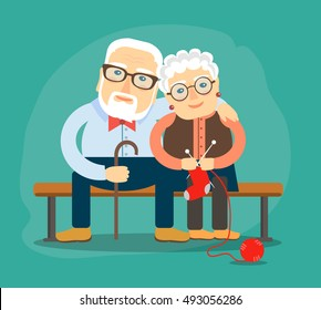 elderly people resting on a bench. Vector illustration in a flat style.