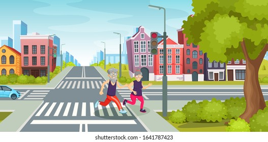 Elderly people run across the road at crossroads. City road with crossroads on background vintage building, houses residential with street traffic road crossing crosswalks cartoon vector illustration