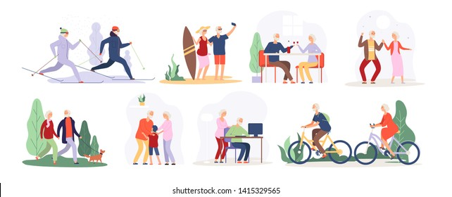 Elderly people. Senior grandfather grandmother couple sport tourist granny elderly people walking running cycling dancing vector set