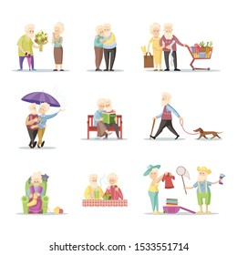 Elderly people. Set of senior man and woman characters in flat style isolated on white background. Old people in different poses and situations. Vector color illustration.