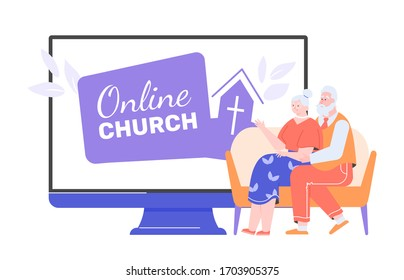 Elderly people are sitting next to the monitor with the online church service site. Belief in God, sermons and modern technology. Grandparents pray at home. Vector flat illustration.