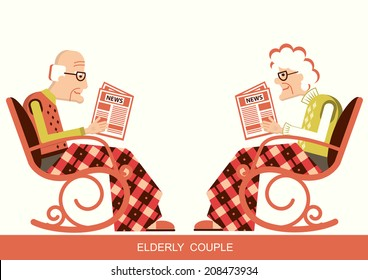 Elderly people are sitting in rocking chair and reading newspaper.Vector pensioners isolated for design