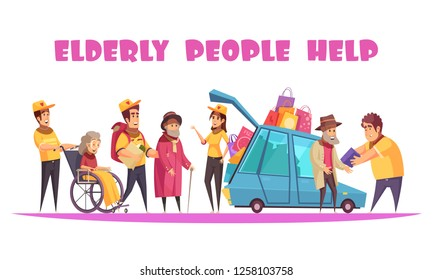 Elderly people social support service helping with socializing walking shopping organizing activities in wheelchair cartoon vector illustration