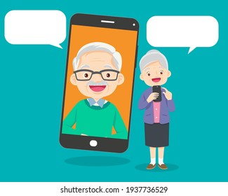 Elderly people talking, chatting, messaging, gossiping on social network topics.Old aged family couple communication using smart phone video call.grandmother and grandfather with smartphone.