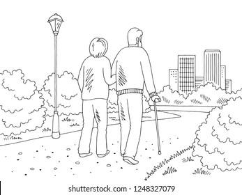 Elderly people walking in the park graphic black white landscape sketch illustration vector