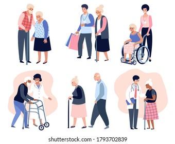 Ältere Menschen, die laufen, Sozialarbeiter, die älteren Frauen helfen,  Großvater und Großmutter Ehepaar. Flache Vektorgrafik