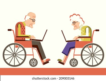 Elderly people in a wheelchairs with laptops.Vector pensioners isolated for design