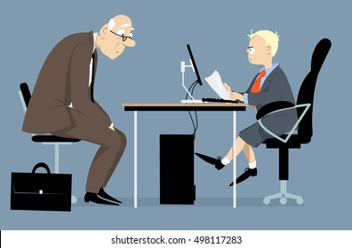 Elderly person having a job interview with a hiring manager, looking like a little boy, EPS 8 vector illustration