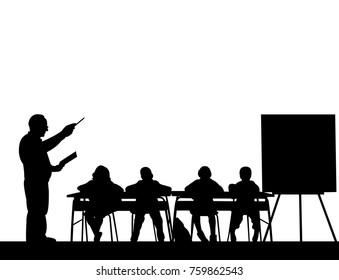 Elderly school teacher with book in the class teach your students silhouette, one in the series of similar images