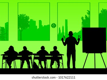 Elderly school teacher teaches letters to the students or offers them a choice silhouette