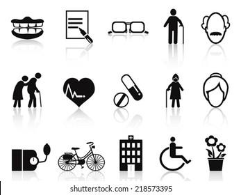 elderly and senior icons set