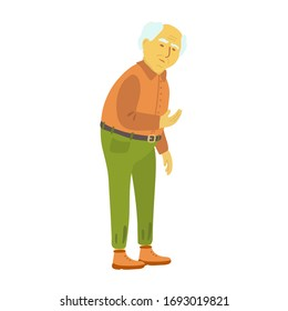 An elderly senior man isolated on white background. Grandpa. Green pants with a belt, terracotta shirt, brown boots. Vector illustration of an old man character. Full length portrait.