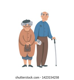 Elderly senior man and woman in glasses standing together. Aged grey haired couple. Nursing home. Senior people healthcare assistance flat Vector illustration