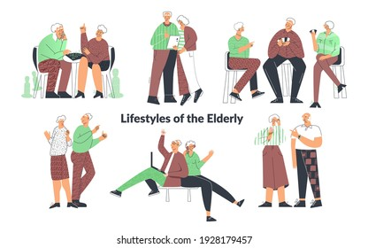 Elderly senior people lifestyle, couple playing games, friend having fun, family chatting on computer. Old lady and gentlemen. Set of senior citizen flat cartoon illustration isolated on white