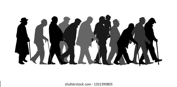 Elderly seniors walking crowd vector isolated on white . Old man person with stick silhouette. Mature old people active life. Grandfather veterans company. Health care in nursing home. Senior meeting.