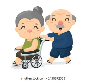 Elderly society Cartoon, old age lovers care for each other when sick.