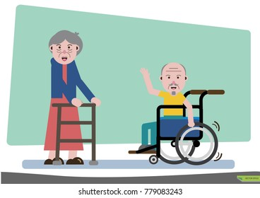 Elderly society and his way of life meet the doctor in a wheelchair.