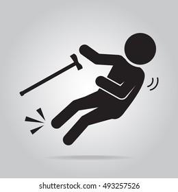 Elderly with stick and slip injury, person injury symbol illustration
