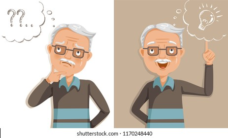 elderly thinking. Emotions and gestures. Think not, do not understand, Think out. Concept learning of brain and alzheimer's disease of elderly. Cartoon illustrations vector. The contradictory emotions