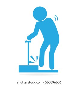 Elderly tripping over on floor, person injury symbol illustration