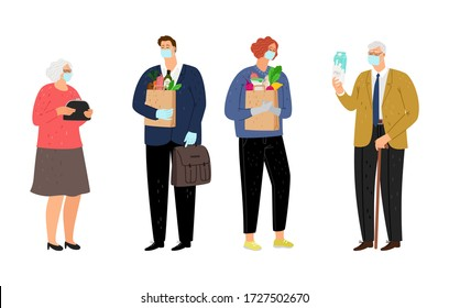 Elderly and volunteers. Young woman man with food for old people. Grandparents waiting social help, isolated flat diffirent generations characters vector illustration