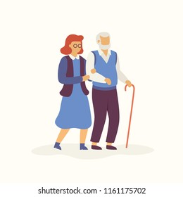 Elderly is walking in autumn concept Vector flat illustration. Aged man and woman going together isolated on light background. Old people cartoon characters minimalistic illustration.