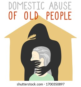 An elderly woman is caught in the arms of a black fanged monster who strangles her and closes her mouth. The old woman cries from powerlessness and suffering. The concept of domestic violence