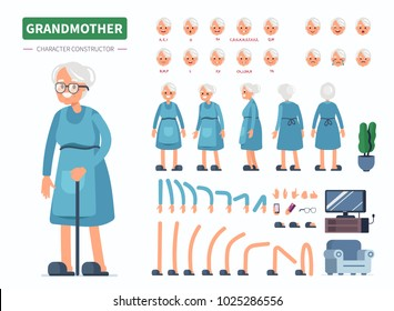 Elderly woman character constructor for animation. Front, side and back view. Flat  cartoon style vector illustration isolated on white background.