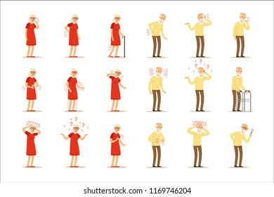 Elderly woman diseases, pain problem in back, neck, arm, heart, knee and head. Senior health set of colorful cartoon characters detailed vector Illustrations