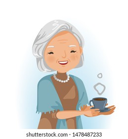 Elderly woman drinking. She is holding a glass of hot drink. Smiling senior. Portrait of beautiful grandmother in emotion relaxing. Business concept after retirement. Vector illustration isolated.