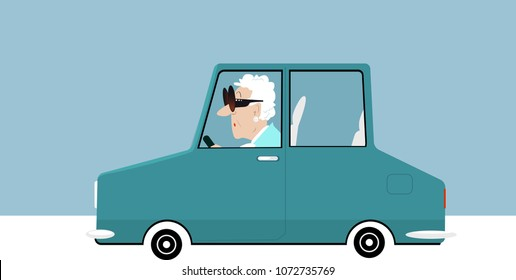 Elderly woman driving a car, EPS 8 vector illustration