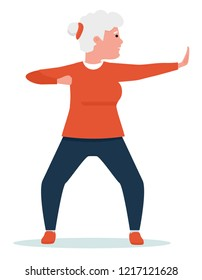 an elderly woman engaged in qigong. Healthy lifestyle. Flat cartoon illustration vector set. Active sport concept set.